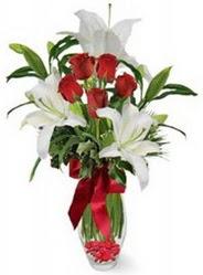 çiçek Bursa yenişehir çiçekçi mağazası  5 adet kirmizi gül ve 3 kandil kazablanka