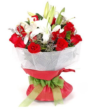 çiçekçi Bursa nilüfer hediye çiçek yolla  1 dal kazablanka 11 adet kırmızı gül buketi