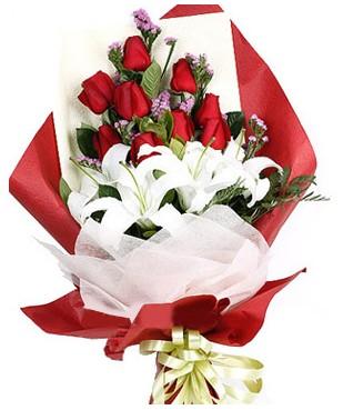 çiçek yolla Bursa orhaneli çiçekçiler  1 dal kazablankaa 9 adet kırmızı gül buketi