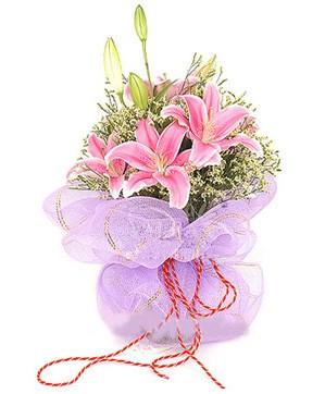 3 dal kazablanka görsel buketi  Bursa osmangazi internetten çiçek satışı