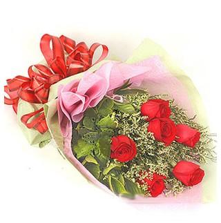 Bursada çiçekçi osmangazi çiçek , çiçekçi , çiçekçilik  6 adet kırmızı gülden buket