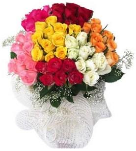 Bursa çiçekçi osman gazi çiçek gönderme sitemiz güvenlidir  51 adet farklı renklerde gül buketi