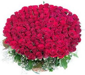 Bursa çiçek satışı kestel uluslararası çiçek gönderme  100 adet kırmızı gülden görsel buket