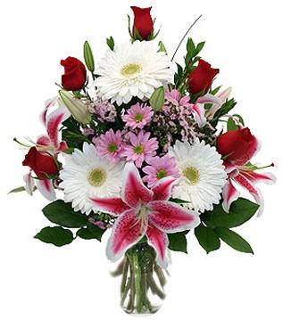 cicekci Bursa inegöl çiçek mağazası , çiçekçi adresleri  1 dal kazablanka 5 gül ve kırçiçeği vazosu