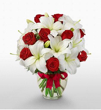 çiçekçi Bursa nilüfer hediye çiçek yolla  1 dal kazablanka 11 adet kırmızı gül vazosu
