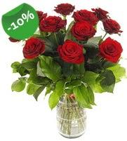 11 adet vazo içerisinde kırmızı gül  Bursa ya çiçek yolla mudanya cicek , cicekci