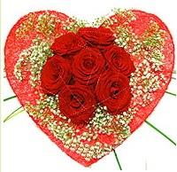 Mika kalp içerisinde 7 adet kırmızı gül  Bursa orhangazi internetten çiçek siparişi