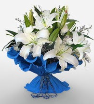 4 dal kazablanka çiçeğinden buket  çiçekçiler Bursa online çiçek gönderme sipariş