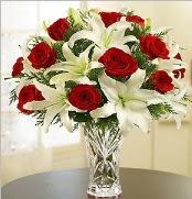 12 adet kırmızı gül 2 dal kazablanka vazosu  Bursaya çiçek yolla orhangazi çiçek satışı