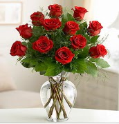 Vazo içerisinde 12 kırmızı gül  Bursaya çiçek yolla orhangazi çiçek satışı