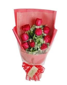 9 adet kırmızı gülden görsel buket  online Bursa ucuz çiçek gönder