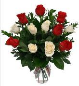 Vazo içerisinde 6 kırmızı 6 beyaz gül  çiçekçi Bursa nilüfer hediye çiçek yolla