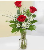 Vazo içerisinde 3 adet kırmızı gül  Bursaya çiçek yolla orhangazi çiçek satışı