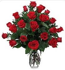 Bursa çiçek gönder nilüfer çiçek siparişi vermek  24 adet kırmızı gülden vazo tanzimi