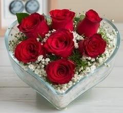 Kalp içerisinde 7 adet kırmızı gül  çiçek siparişi Bursa karacabey çiçek yolla