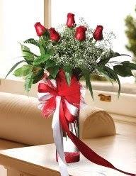 Camda 5 kırmızı gül tanzimi  Bursa çiçekçi osman gazi çiçek gönderme sitemiz güvenlidir