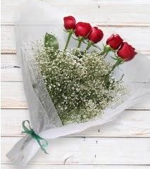 5 kırmızı gülden sade buket  Bursa çiçek yolla nilüfer çiçek gönderme