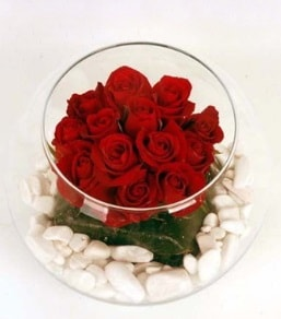 Cam fanusta 11 adet kırmızı gül  Bursa çiçek nilüfer İnternetten çiçek siparişi