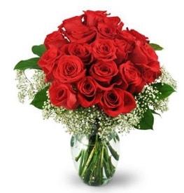 25 adet kırmızı gül cam vazoda  Bursada çiçekçi osmangazi çiçek , çiçekçi , çiçekçilik