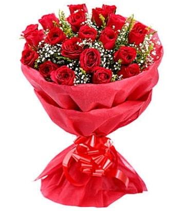 21 adet kırmızı gülden modern buket  Bursa çiçek nilüfer İnternetten çiçek siparişi