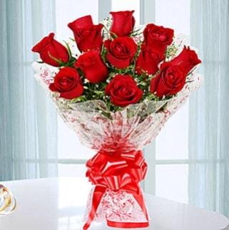 11 adet kırmızı gülden görsel şık buket  online Bursa ucuz çiçek gönder