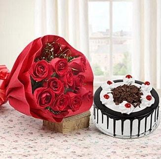 12 adet kırmızı gül 4 kişilik yaş pasta  Bursada çiçekçi osmangazi çiçek , çiçekçi , çiçekçilik