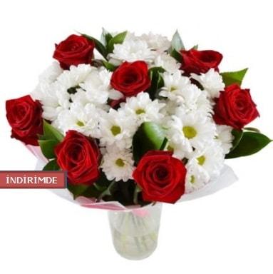 7 kırmızı gül ve 1 demet krizantem  çiçek siparişi Bursa karacabey çiçek yolla