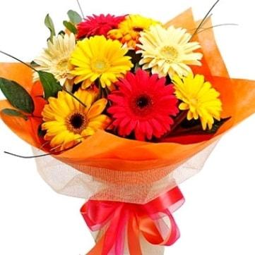 9 adet karışık gerbera buketi  Bursada çiçekçi osmangazi çiçek , çiçekçi , çiçekçilik