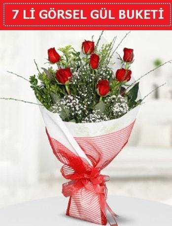 7 adet kırmızı gül buketi Aşk budur  Bursaya çiçek yolla orhangazi çiçek satışı
