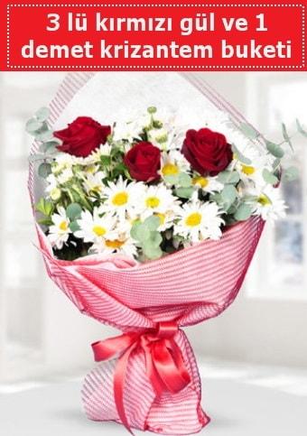 3 adet kırmızı gül ve krizantem buketi  çiçek siparişi Bursa karacabey çiçek yolla