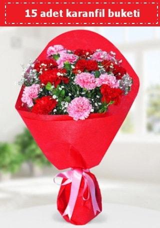 15 adet karanfilden hazırlanmış buket  Bursa çiçek gönderimi nilüfer cicekciler , cicek siparisi