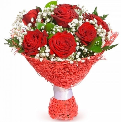 7 adet kırmızı gül buketi  çiçek yolla Bursa orhaneli çiçekçiler