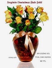 Bursa osmangazi internetten çiçek satışı  mika yada Cam vazoda 12 adet sari gül